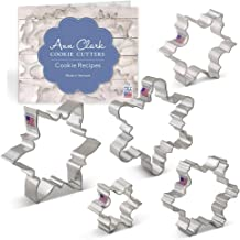 """Ann Clark Cookie Cutters 5-Piece Snowflake Cookie Cutter Set with Recipe Booklet, 3.25"""", 3.5"""", 4"""", 4.25"""", 4.5"""""""