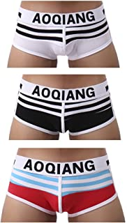 AOQIANG Fashion Underwear Stripe Boxer Briefs Shorts Stretch Breathable Underpants for Men (3-Pack)