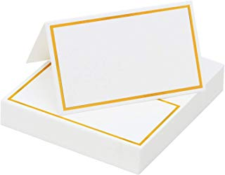 Elcoho 120 Pieces Gold Foil Table Name Place Cards Blank Place Cards White Table Tent Cards for Wedding Supplies or Party Favor (Golden Border)