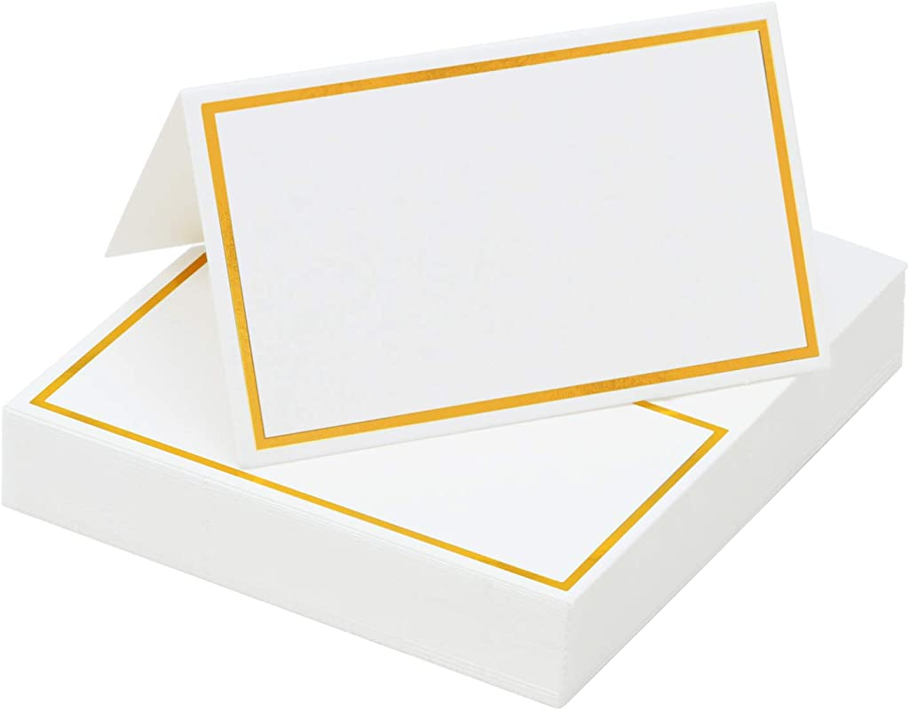 Elcoho 120 Pieces Gold Foil Table Name Place Cards Blank Place Cards White Table Tent Cards For Wedding Supplies Or Party Favor Golden Border
