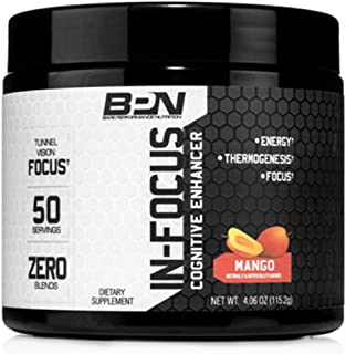 Bare Performance Nutrition   in-Focus Cognitive Enhancer   Thermogenic, Nootropic & Energy (50 Servings, Mango)
