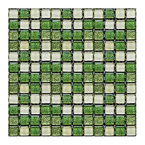 Gwolf 3D Fliesenaufkleber Mosaik, 30 Stück Mosaik Wandfliese Aufkleber, Bad Fliesenfolie Küche Selbstklebende Fliesen, Mosaikfliesen Sticker, Wasserdicht Fliesen Aufkleber für Badezimmer, 10x10cm
