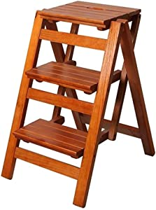 Wtbew-u Multi-purpose Ladders  Step Stools Folding Ladder Steps Wood Household Stairway Chair