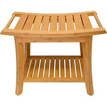 Zhuoyue Bamboo Spa Bath Shower Stool & Bench with Storage Shelf, Waterproof Shower Bath Seats for Adults Seniors Disabled Women Handicap Elderly Tileable