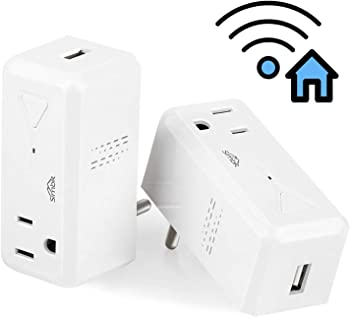2 Pack SIMBR Wi-Fi Smart Plug Outlet Works with Alexa and Google Home