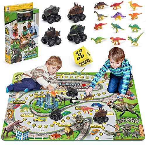 Dinosaur Toys for Boys, Dinosaur Figures Playset w/ 57.1''39.4'' Activity Play Mat ,12 Realistic Dinosaur Figures&4 Push&Go Dinosaur Cars, Perfect Dinosaur Toys Gifts for Boys Girls