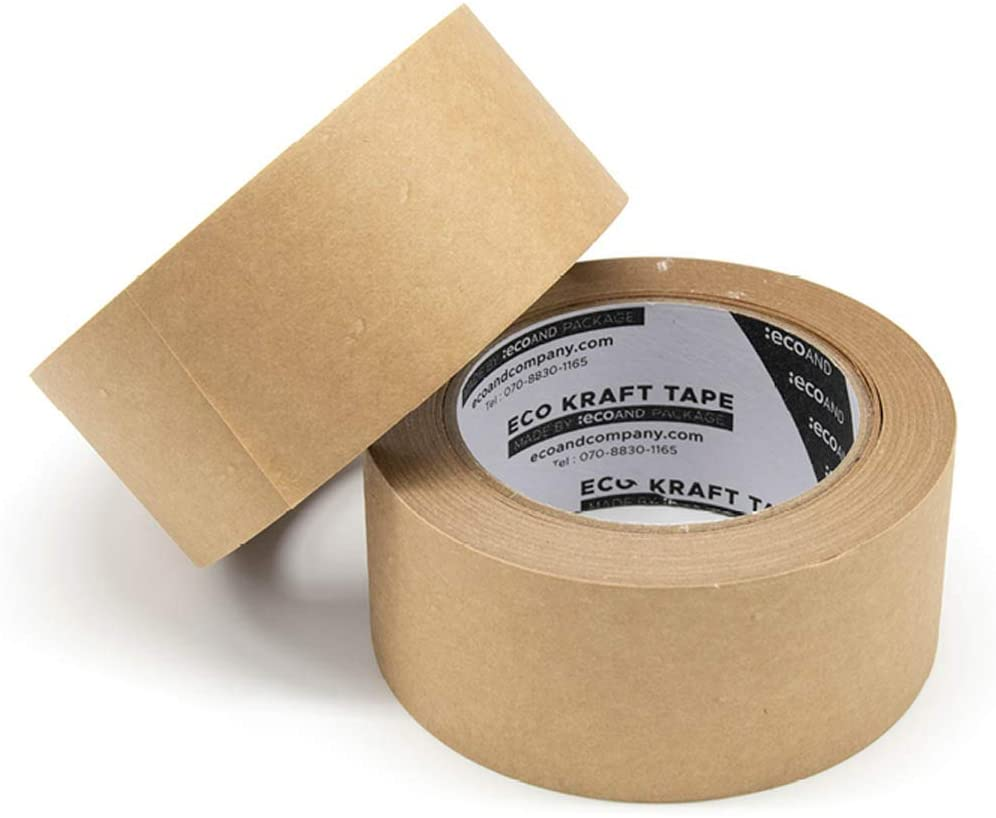 """2pcs Sealing Writable Non-Coated Surface for Masking and Packaging Use Fragile-Printed ECOAND Brown Kraft Paper Tape 2/"""" x 43 Yards Easy-to-Tear Eco-Friendly and Recyclable"""