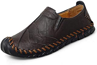 Men's Penny Loafers Casual Leather Slip on Driving Shoes Soft Walking Hand Stitching Large Size Ankle Boots Black Brown