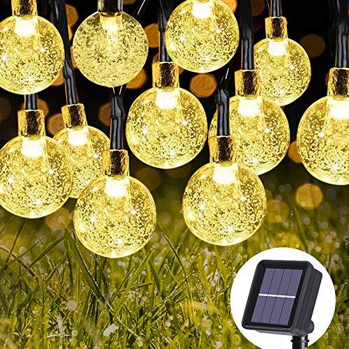LED Lichterkette Außen Solar Rekey Lichterkette mit 50er LED Kristallkugeln 9 Meter Lichterkette Innen 8 Modi Warmweiß für Garten,Weihnachten, Schlafzimmer, Hochzeiten, Partys. [Energieklasse A++]