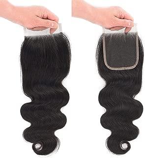 10A Brazilian Closure Body Wave 100% Unprocessed Virgin Human Hair Lace Closure 4X4 Free Part Natural Black (18 inch, Natural Color)