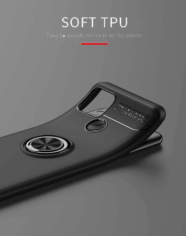 Bumper Caso Case Cover con Shock- Absorci/ón y 360/° Anillo Kickstand LEYAN Funda para Realme 7i TPU Silicona Protecci/ón Carcasa Negro+Negro Realme 7i Global