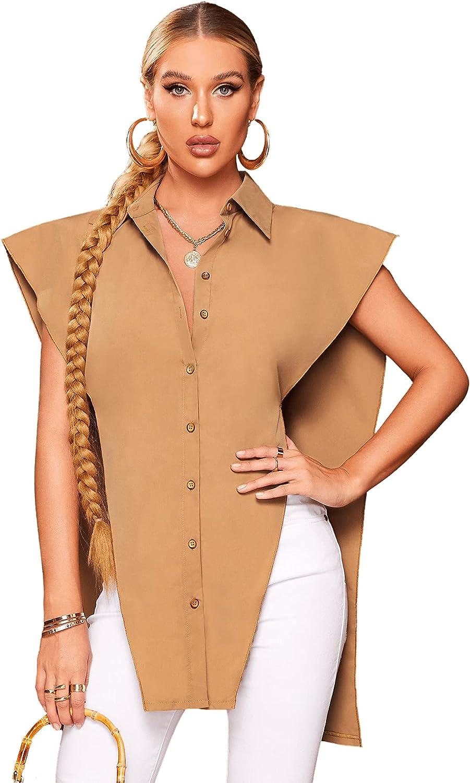 Milumia Women's Padded Shoulder Button up Asymmetrical Hem Blouse Shirt Top