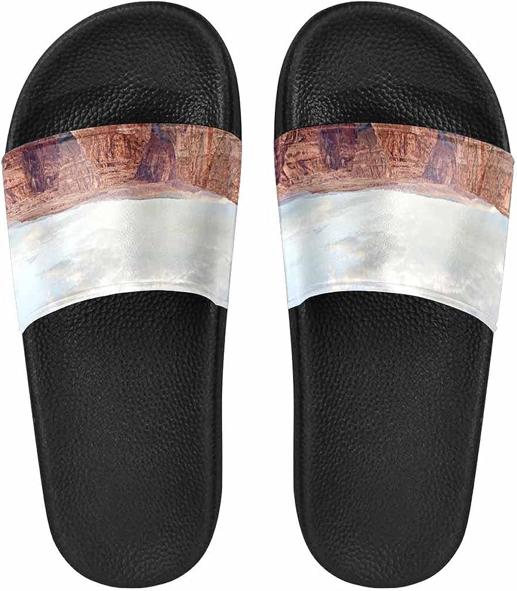InterestPrint Hawksbill Turtle, Ocean Coral Reef Women's Slide Sandal Summer Beach Travel Sandal Indoor Shoes
