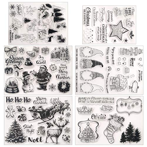 6 Pieces Christmas Theme Clear Stamps Silicone Decorative Stamp Transparent Stamp for Card Making Decoration Scrapbooking Album Supplies