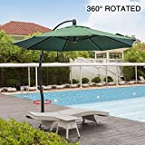 Mefo garden 11.5 Feet Offset Patio Umbrella, 360° Rotated Cantilever Umbrella with Tilt System for Outdoor Parties, Courtyard with Cross Base, Aluminum, 250gsm Round Canopy, Dark Green