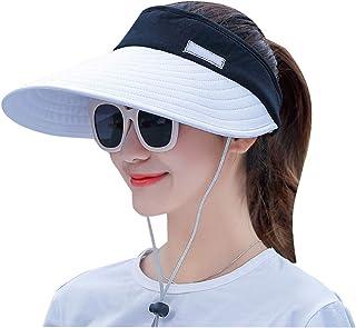 Sun Visor Hats Women Extra Large Brim Hat, Sun UV Protection UPF+50, Adjustable Breathable Sport Caps, Summer Beach Visor Cap with Chin Strap (7 Colors)
