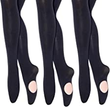MANZI 1-3 Pairs Women's Girl's Dance Tights Convertible Transition Ballet Tights 40D