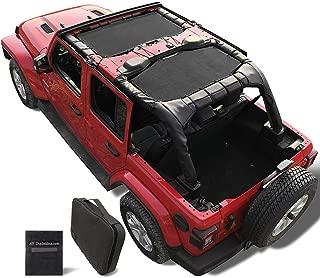 Shadeidea Jeep Wrangler Sun Shade JL Unlimited 4 Door Front and Rear 2 piece-Black Mesh Screen Sunshade JLU 2018 2019 2020 Top Cover UV Blocker with Grab Bag-10 years Warranty