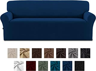 Easy-Going Fleece Stretch Sofa Slipcover – Spandex Anti-Slip Soft Couch Sofa Cover, Washable Furniture Protector with Anti-Skid Foam and Elastic Bottom for Kids, Pets(Sofa,Navy)