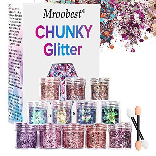 Chunky Glitter, Glitter Nagel, Glitzer Sequin, Glitzer Sequin Chunky Glitter für Gesicht Nägel Augen Lippen Haare Körper, Make Up Glitter Paillette Music Festival Masquerade - 8 Boxen*10ML