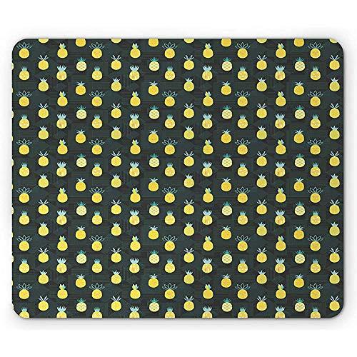Ananas-Mauspad,Geometrisches Motiv Im Hipster-Memphis-Stil Vegan Food Tasty Art,Rutschfestes Gummi-Mousepad Mit Rechteck,Standardgröße,Dunkelolivgrüner Senf