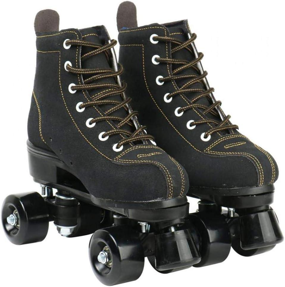 Classic Premium Roller Skates Four Wheels Roller Skates Shiny Roller Skates for Unisex High-Top Shoes Double-Row Design Cowhide Roller Skates