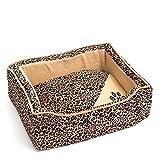 WoMa Kreativ Tierbett 45 x 35 cm edles Hundebett Hundesofa Tierkissen Hundekorb Design Zebra hohe Qualität (Leopard)