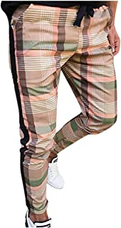 Abeaicoc Men Casual Pockets Sleeveless Hip Hop Plaid Print Button Front Shirt
