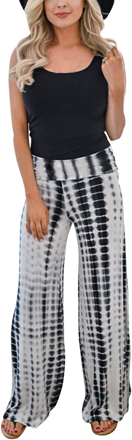 Womens Summer Tie Dye Printed Casual Sweatpants Oversize Stetchy Loose Wide Leg Opening Lounge Pant