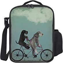 Schnauzer Tandem Insulated Travel Picnic Lunch Box Tote Portable Lunch Bag with Shoulder Strap