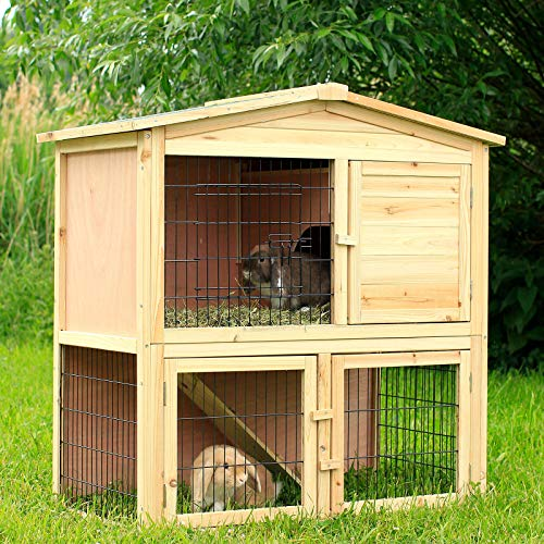 dibea Kaninchenstall aus Holz Kleintierhaus Outdoor Tierstall 98x54x100 cm