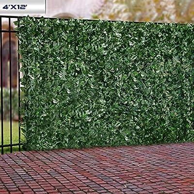 Windscreen4less Artificial Faux Ivy Leaf Decorative Fence Screen 4' x 12' Ivy Leaf Decorative Fence Screen