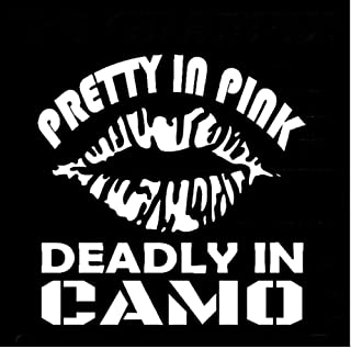 Wwwx 2 Pcs Pretty In Deadly In Camo Vinyl Decal Hunting Fishing Camping Car Styling Motorcycle Car Sticker White 15Cm*15.2Cm