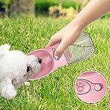 Botella de Agua para Perros para Caminar de STRIR Dispensador de Agua para Mascotas Moda Antibacterial portátil para Perros Viaje Botella para Beber Agua Dispensador para Platos (Rosa)