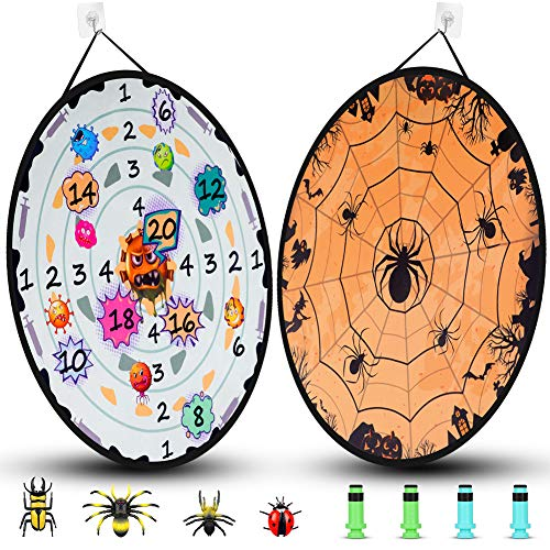 DX DA XIN Kid Darts Board Game Large Size 68cm Double-sided Halloween Target Board with 8 Toy Darts Interactive Indoor Outdoor Garden Game