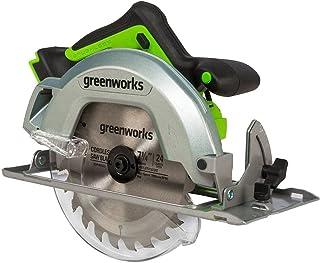 Greenworks Sega circolare a batteria professionale da 24 V, a batteria, con luce LED, per ganci e lame (profondità di tagl...