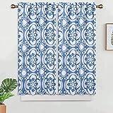 LinTimes Juego de 2 cortinas de cocina, con estampado de medallón, cortinas opacas para ventana de baño, diseño floral de damasco, con bolsillo para barra, color azul, 66 x 114 cm, juego de 2
