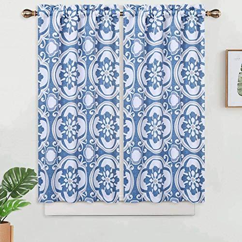 LinTimes - Set di 2 tende da cucina con medaglione stampato, oscuranti per finestra del bagno, motivo floreale damascato, set di 2 tende da caffè e mezza finestra, colore: blu, 66 x 114 cm