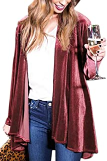 Women Cardigan Drape Velvet Long Baggy Jacket Open Front Coat Outwear