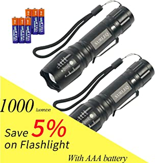 LED Tactical Flashlight 1000 High Lumen Zoomable 5 Modes Adjustable Focus Water Resistant Handheld Light with 3 standard AAA Batteries for Camping Outdoor Biking Emergency 2 Pack