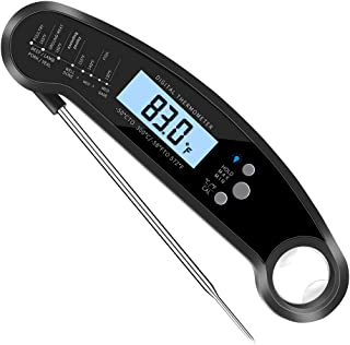 ToppKitchen Waterproof Instant Read Cooking Food Meat Grill Digital Thermometer with Long Probe Backlight for Grilling BBQ...