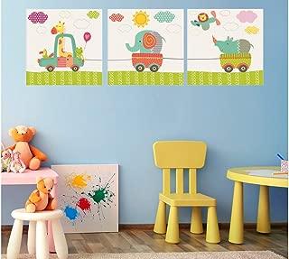 Oedim Pack de 3 Cuadros Infantiles Cartón Ecológico Animalitos en Coche | 40 x 40 cm | Decoración Habitación | Multicolor | Diseño Elegante | Cantos Impresos |
