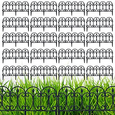 Bili-silly Decorative Garden Fence 5pcs Folding Fencing Patio Wire Border for Flower Coated Black Metal Outdoor Rustproof Landscape Section Wrought Iron Panel Decor Dog Barrier (20 pcs)