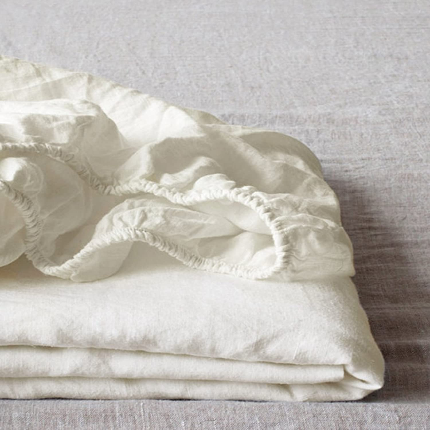 Linen Bed Cover,Pure Linen Mattress Cover Moisture Absorbing Breathable Mattress Cover Hypoallergenic Dust Ruffle Fitted Sheets-Beige 150x200x30cm(59x79x12inch)