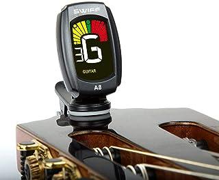 SWIFF クリップ式チューナー 初心者向け ギター/ウクレレ/ベース用チューニング 1年品質保証