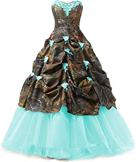 Women's Appliques Camouflage Satin Wedding Bridal Dresses Prom Quinceanera Ball Gowns Plus Size