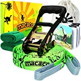 Macaco Slackline Complete Set 52'x 2' (16 Metre) and Booklet, Super Strong Ratchet With Grip, Tree Protectors and Cotton Bag. Very Easy To Set Up.