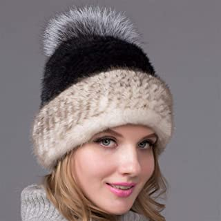 Guomao Women Winter Knitted Hat Knitted Mink Fur Hat Ladies Fashion Wild Ball Thick Black Fox Mink Ear Cap (Color : Gray, Size : M)