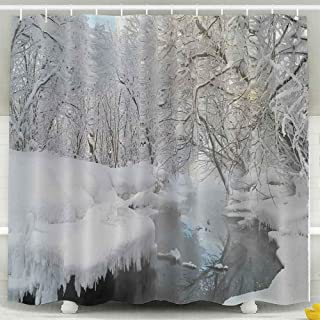 Tooperue Shower Curtains, Shower Curtain for Bathroom with Hooks Winter Landscape with The Wood River Russian 72×72 Inch,Eco-Friendly,No Oder,Waterproof