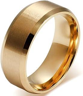 JewelryWe Anello Uomo Donna Unisex, 8mm Anello di Fidanzamento di Nozze Classic, Acciaio Inossidabile d'oro, Meccanico Sti...